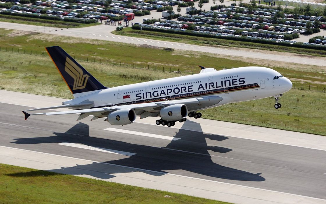 aircraft airplanes Singapore airliners Airbus A380-800 airfield wallpaper