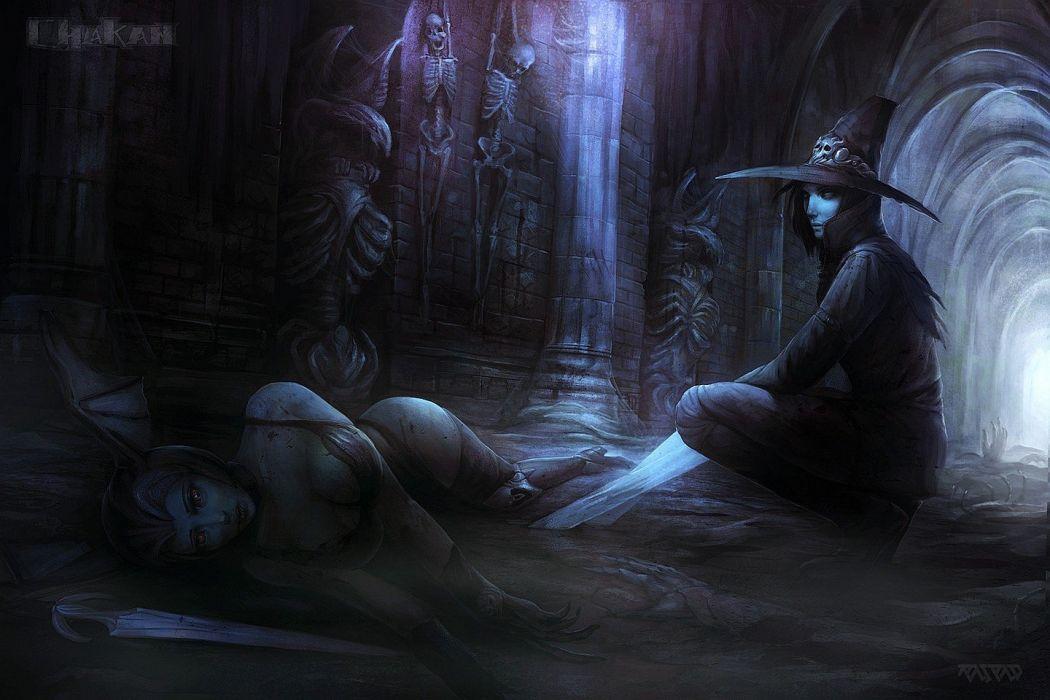 paintings dark blood fantasy art artwork daggers witcher wallpaper