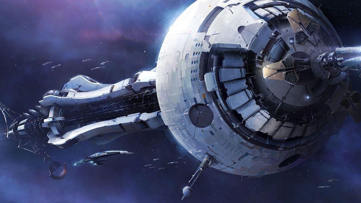 outer space Mass Effect spaceships Mass Effect 3 Crucible digtal art wallpaper