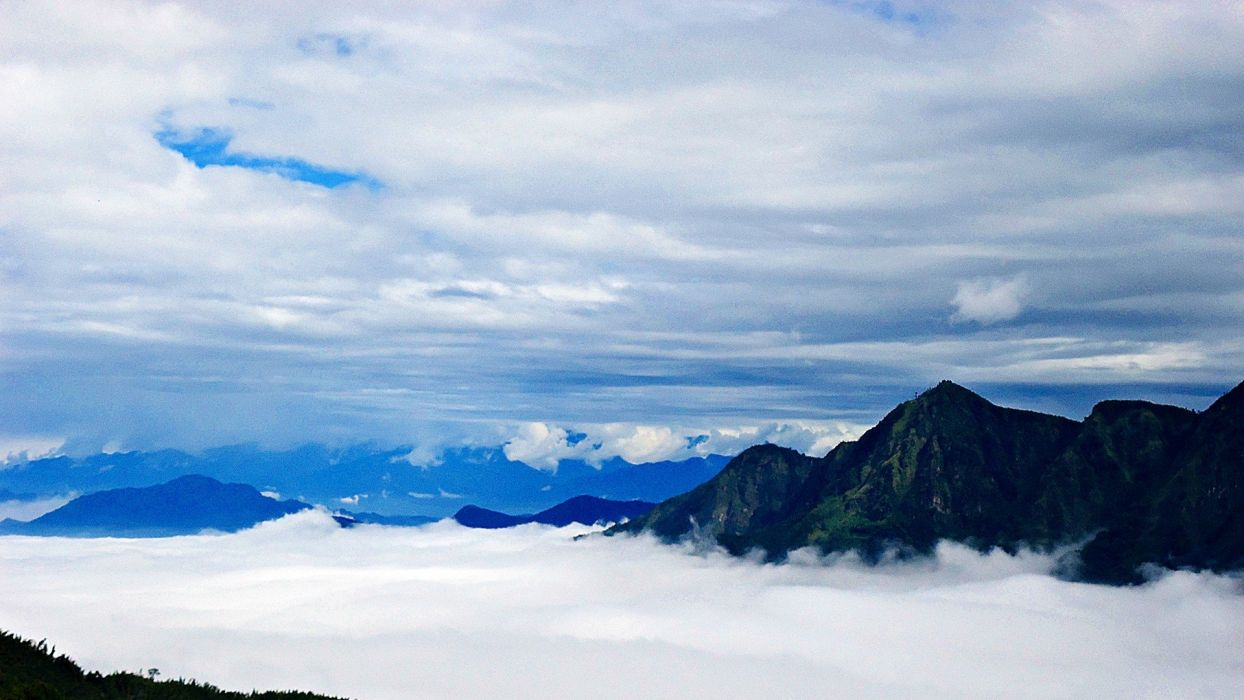mountains clouds landscapes nature trees Taiwan air wallpaper