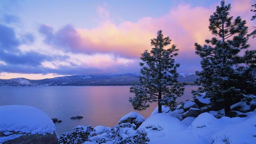 winter multicolor Lake Tahoe wallpaper
