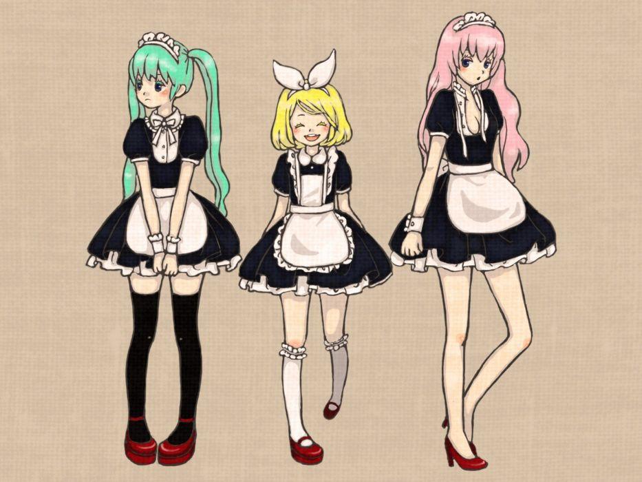 Vocaloid Hatsune Miku maids Megurine Luka Kagamine Rin thigh highs simple background knee socks wallpaper