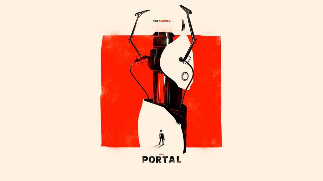 video games Valve Corporation Portal minimalistic fan art portal gun Source Engine wallpaper