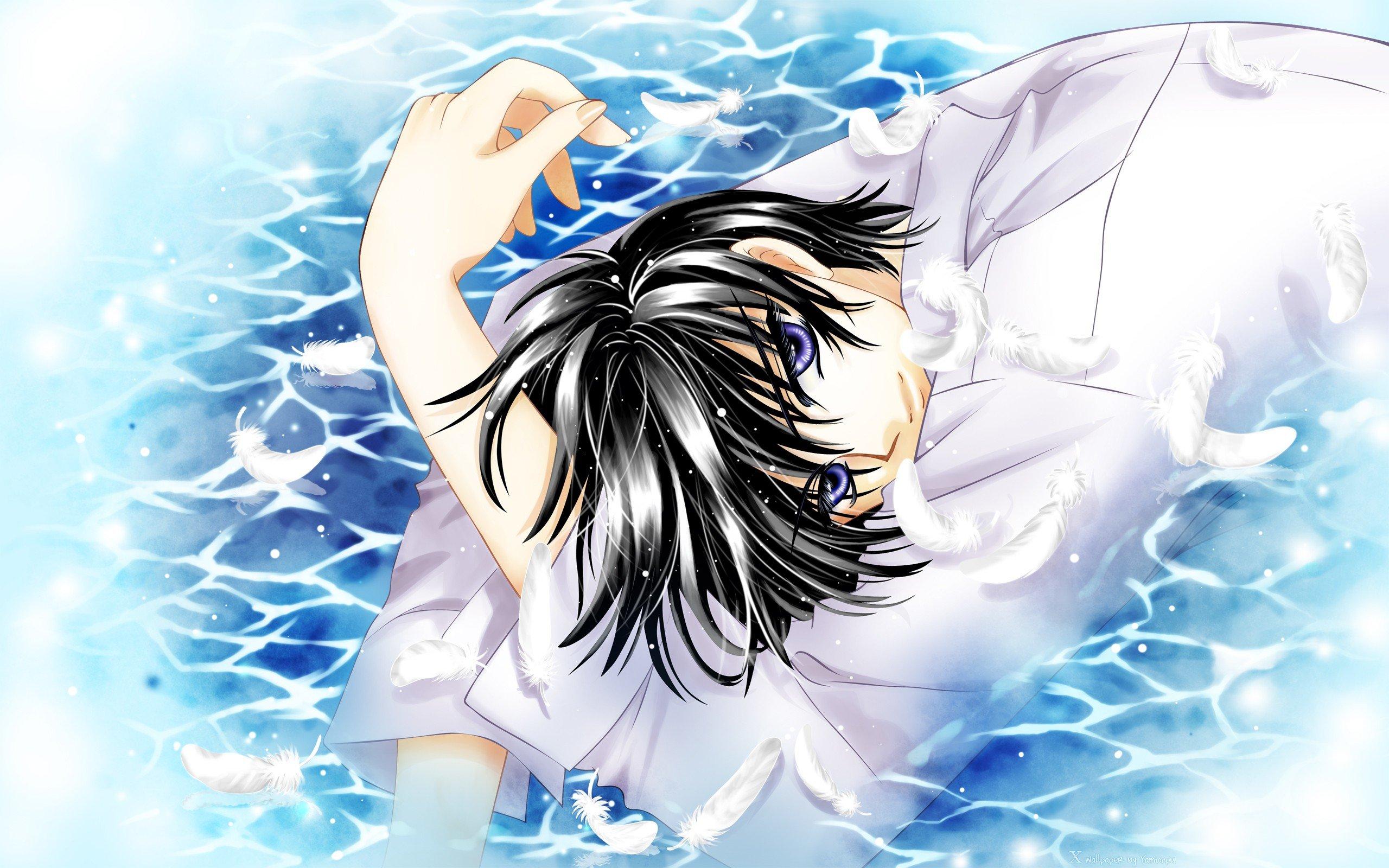 Water Wings Blue Eyes Anime Anime Boys Clamp Black Hair Kamui Shirou
