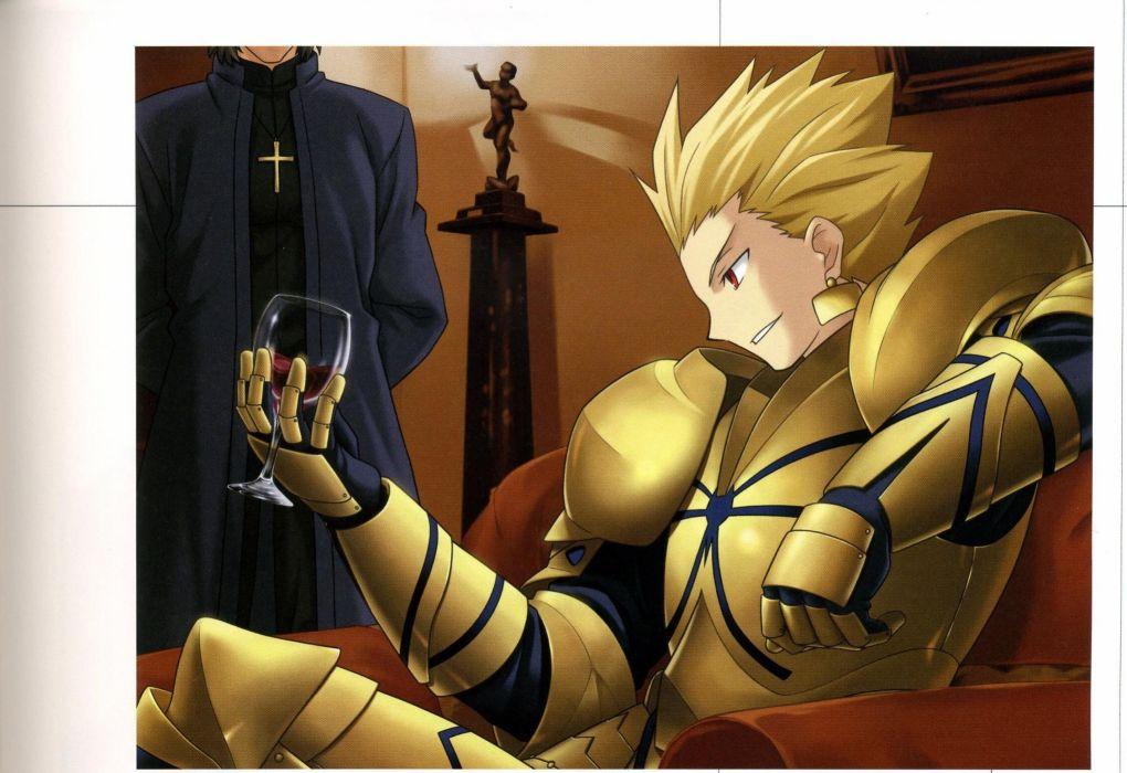 Fate/Stay Night Gilgamesh concept art artwork characters anime Fate series Kotomine Kirei wallpaper