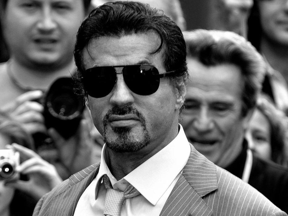 men sunglasses monochrome Sylvester Stallone wallpaper