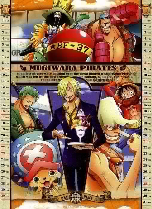 One Piece (anime) Roronoa Zoro chopper calendar anime Franky (One Piece) Brook (One Piece) Monkey D Luffy Usopp Sanji (One Piece) wallpaper