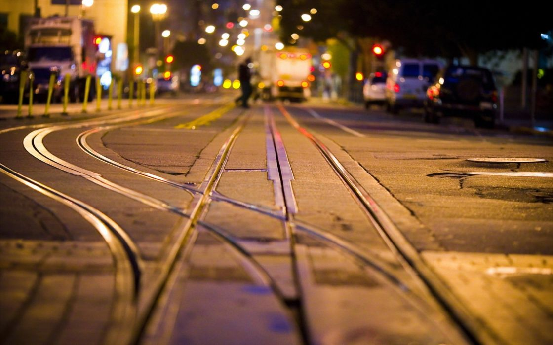 urban railroad tracks street wallpaper