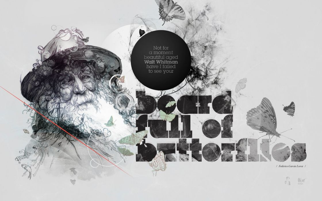 text typography beard artwork writers Walt Whitman butterflies wallpaper