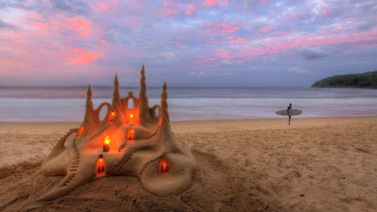 water landscapes sand surfers candles skyscapes sand sculptures beaches wallpaper