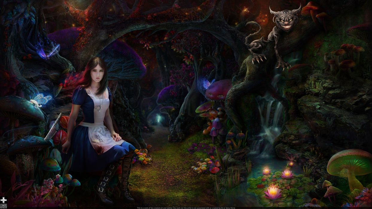 forests Alice Cheshire Cat American McGees Alice wallpaper
