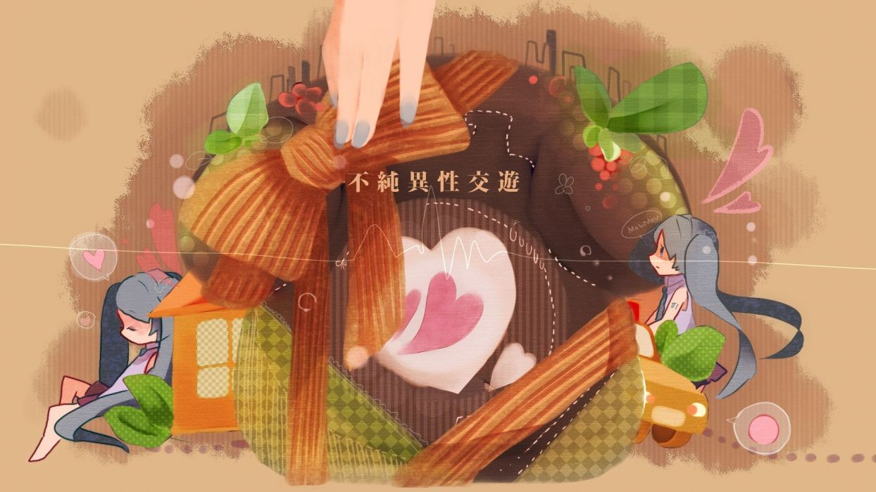 Vocaloid Hatsune Miku chibi ribbons wallpaper