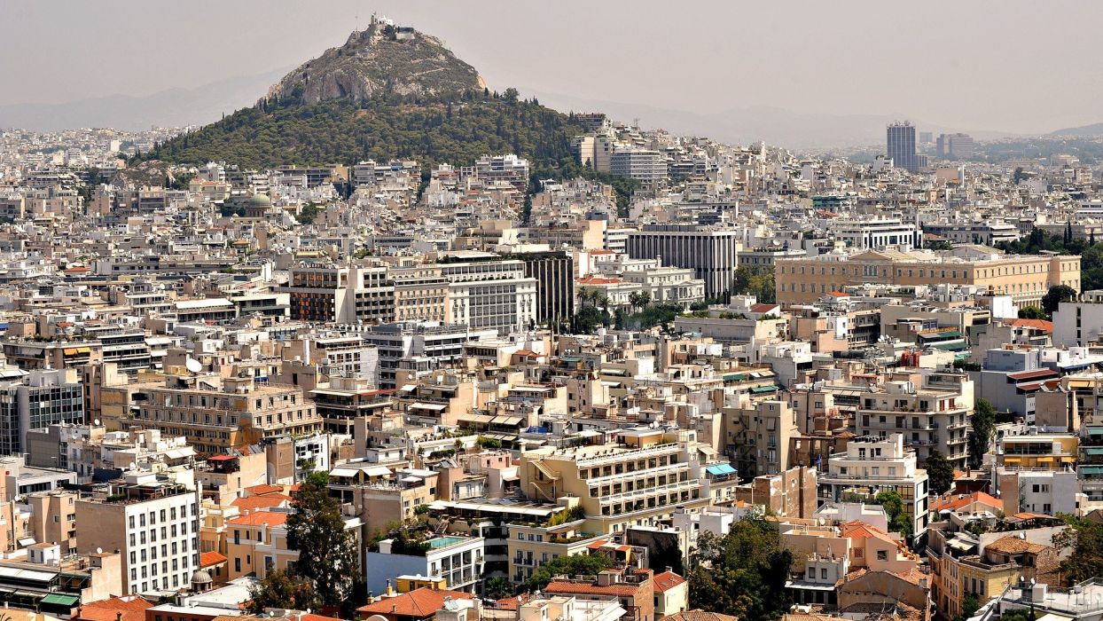 mountains cityscapes Greece Athens city skyline wallpaper