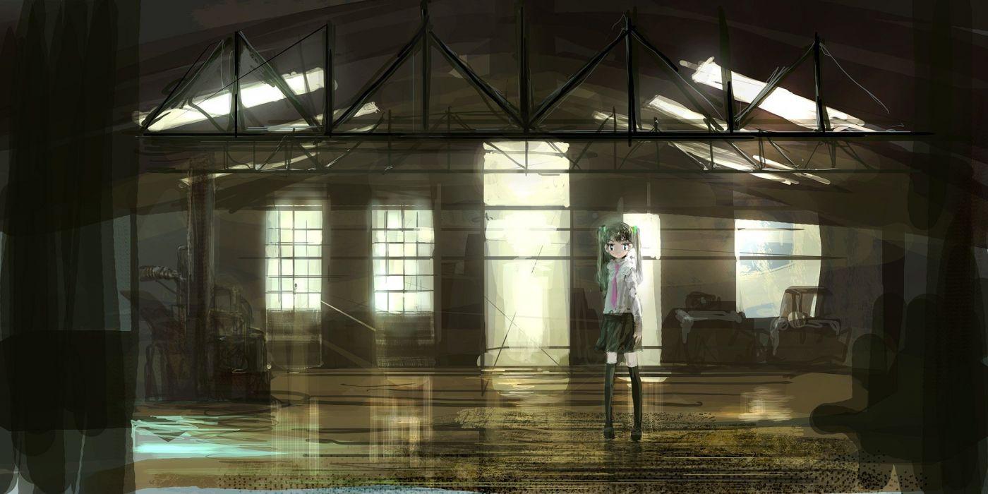 green hair twintails anime girls original characters OP-Center wallpaper