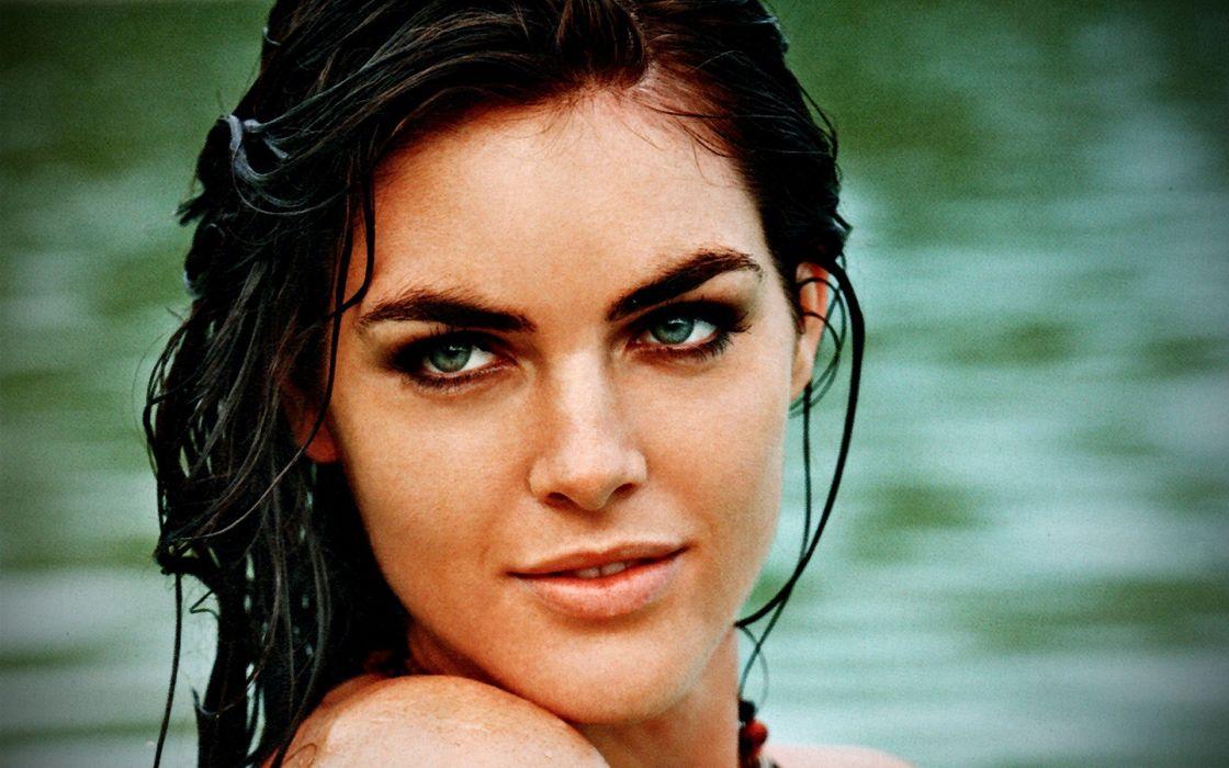 brunettes green women models wet Hilary Rhoda faces wallpaper