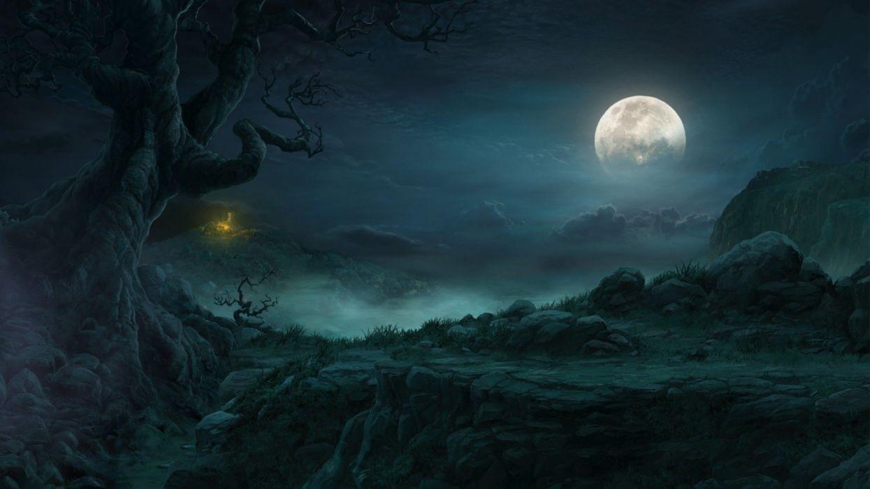 video games landscapes Moon artwork Diablo III wallpaper