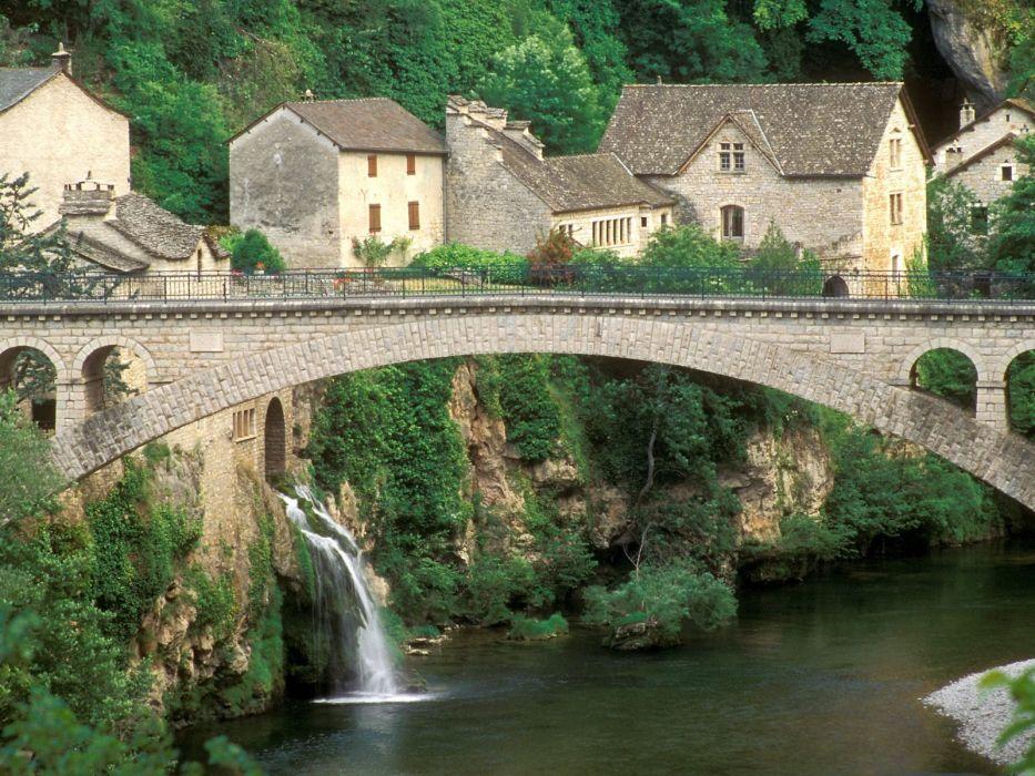 houses France bridges waterfalls wallpaper