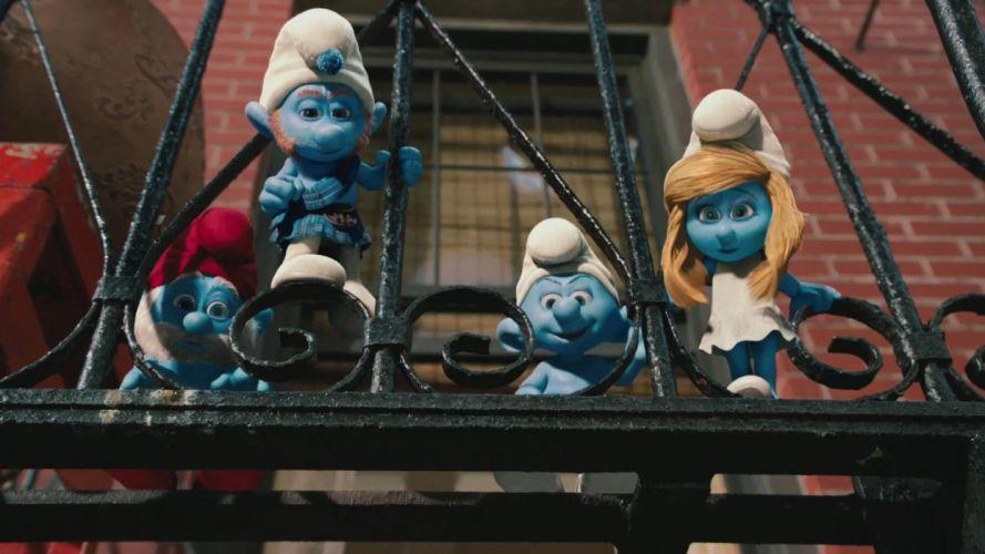 cartoons The Smurfs Papa Smurf Smurfette wallpaper