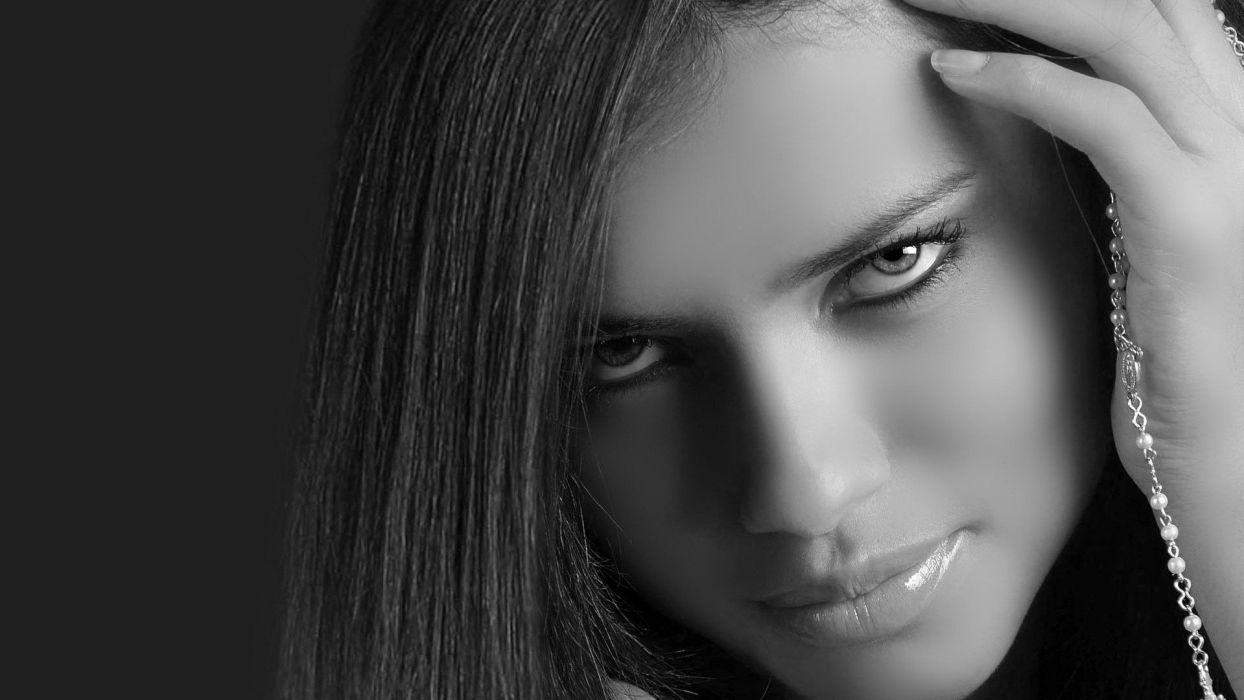 women Adriana Lima celebrity monochrome portraits wallpaper