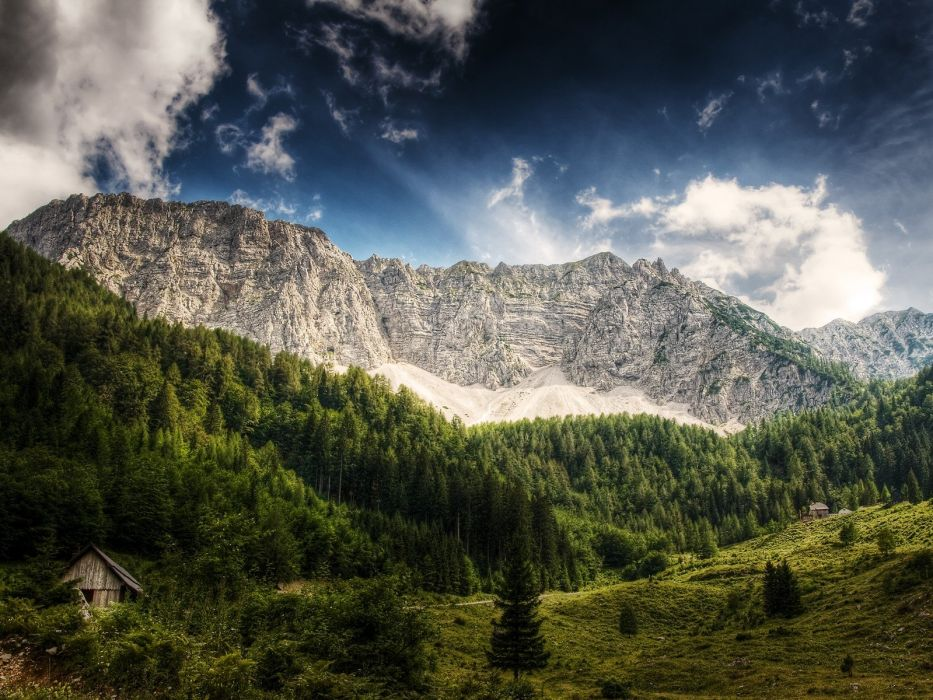 green mountains landscapes nature trees wallpaper