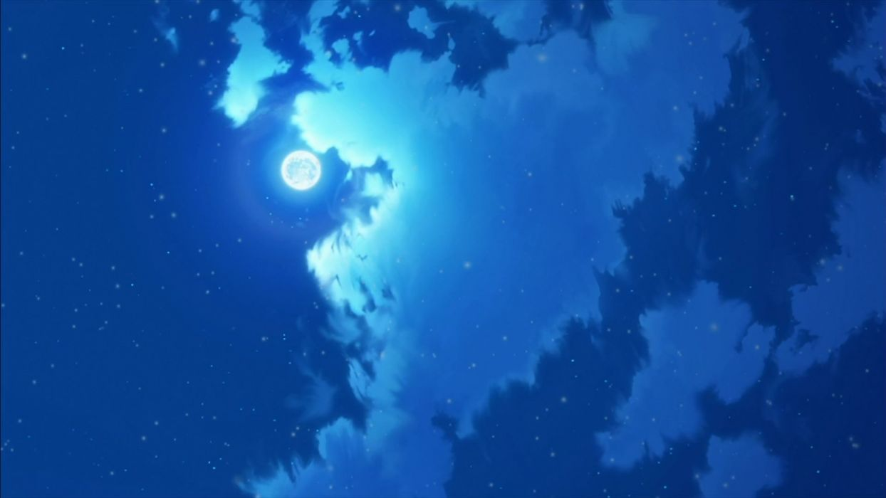 clouds Moon anime skyscapes wallpaper