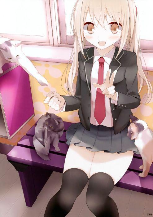 blondes school uniforms tie thigh highs seifuku anime manga neko Usotsukiya (Artist) oouso wallpaper