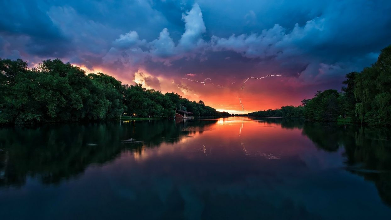 sunset trees forests The River lightning skies wallpaper