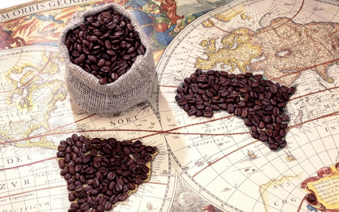 coffee Country world map wallpaper