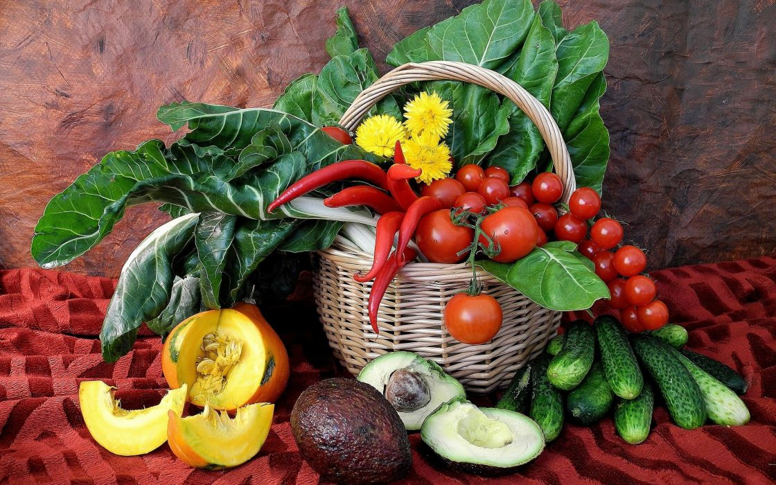 vegetables baskets cucumbers tomatoes  peppers chili peppers wallpaper