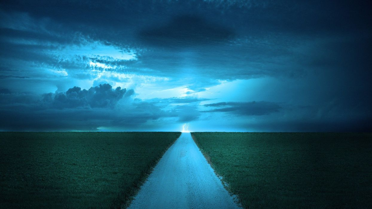 blue nature fields roads skyscapes wallpaper