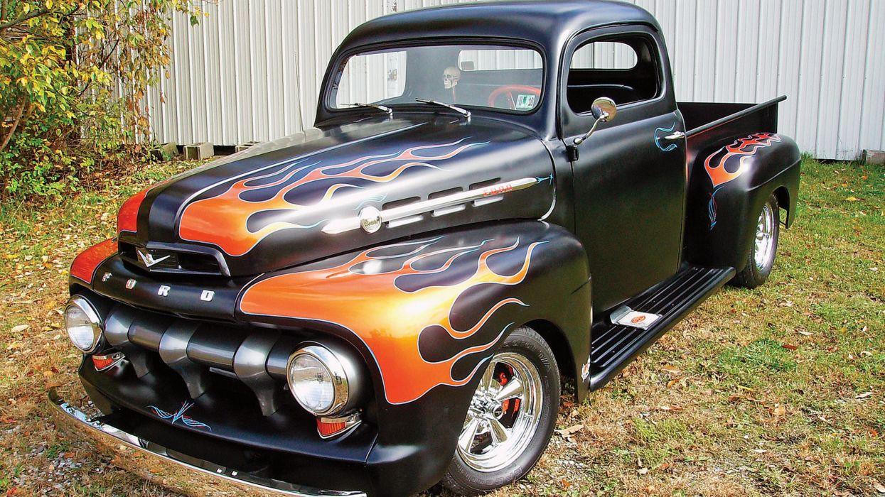 flames Hot Rod Ford trucks Classic vehicles wallpaper