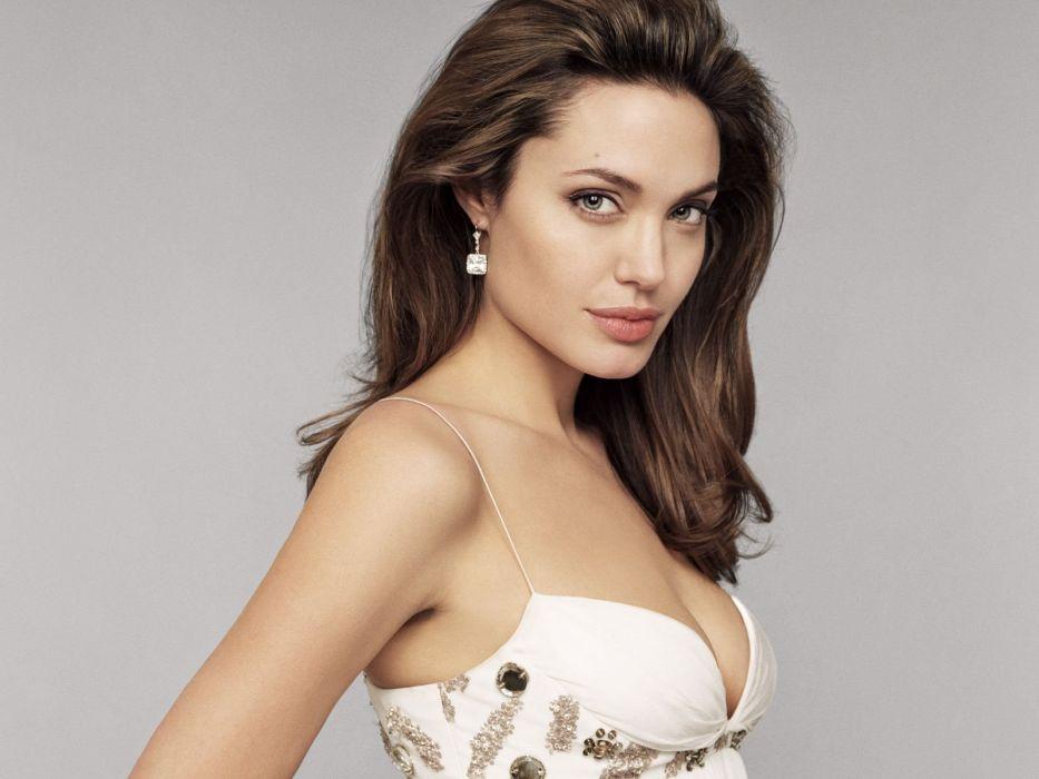 women actress Angelina Jolie simple background wallpaper