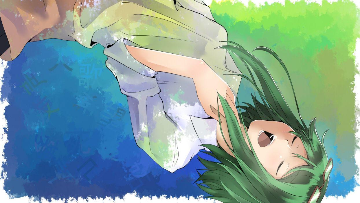 Vocaloid dress glasses falling down short hair green hair shirts open mouth closed eyes Megpoid Gumi anime girls wallpaper