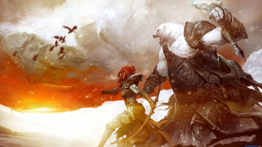 fantasy art armor bows artwork Guild Wars 2 wallpaper