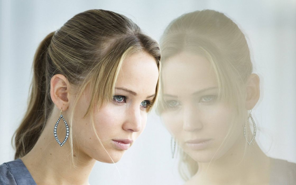 blondes women blue eyes actress celebrity Hollywood Jennifer Lawrence reflections faces wallpaper
