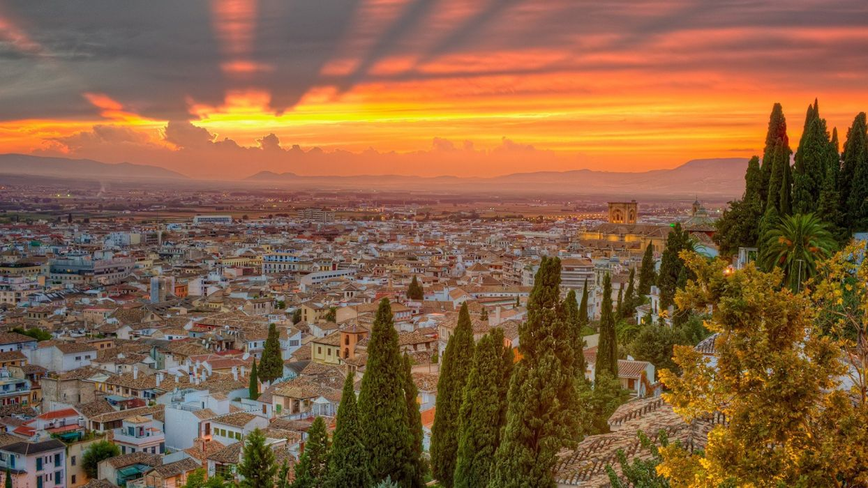 sunset nature trees cityscapes Spain wallpaper