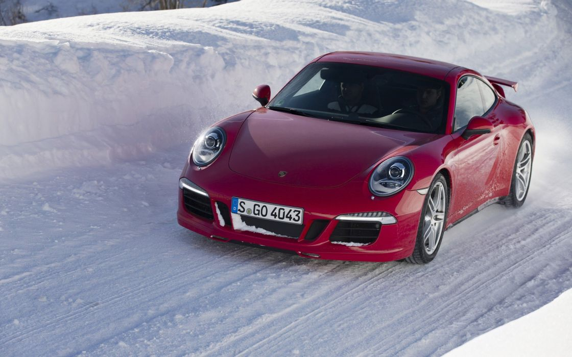 ice snow red cars driving Porsche 911 wallpaper