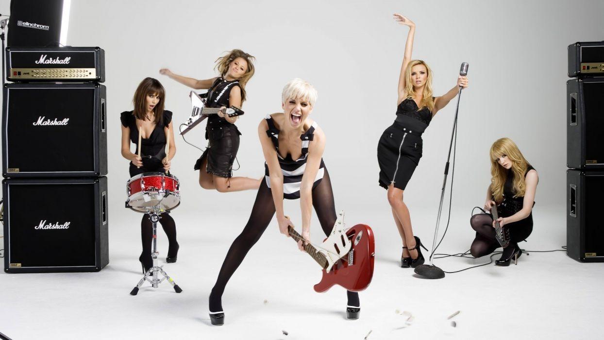 brunettes blondes women celebrity guitars drums white hair Girls Aloud amplifiers bangs wallpaper