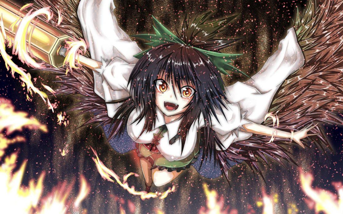 brunettes Touhou wings red eyes Reiuji Utsuho anime girls wallpaper