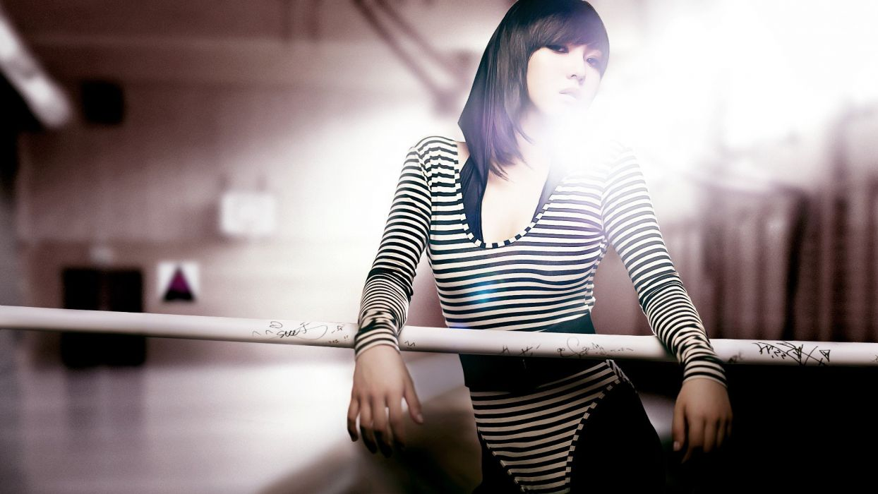 women Asians miss A Min K-Pop striped clothing wallpaper