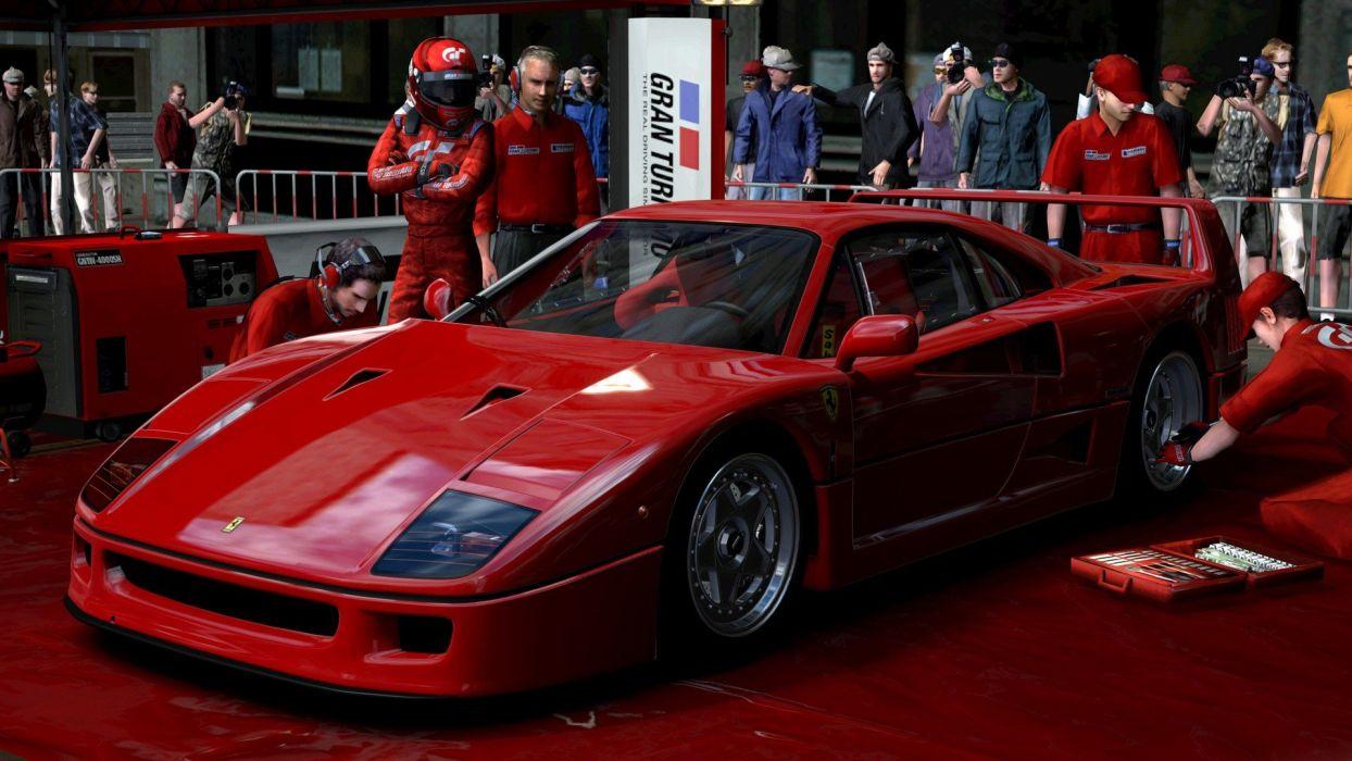 video games cars Ferrari F40 Gran Turismo 5 Playstation 3 pit-crew wallpaper
