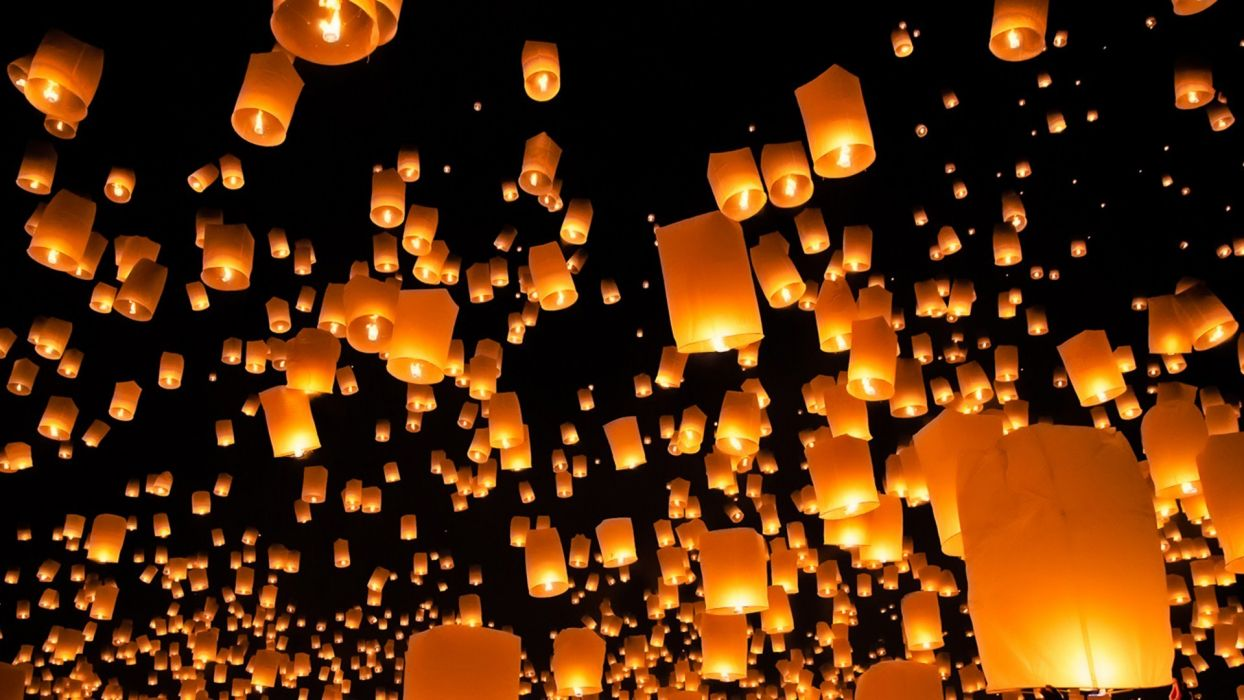 night light ballon photography hd wallpaper wallpaper