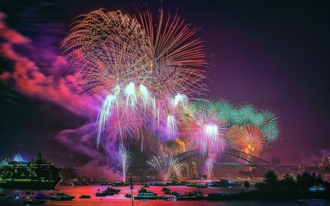ocean bridge house fireworks night hd wallpaper wallpaper