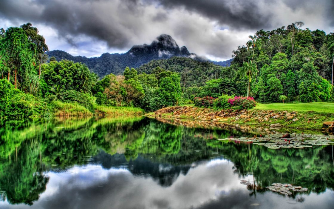 mountains landscapes jungle HDR photography rivers wallpaper