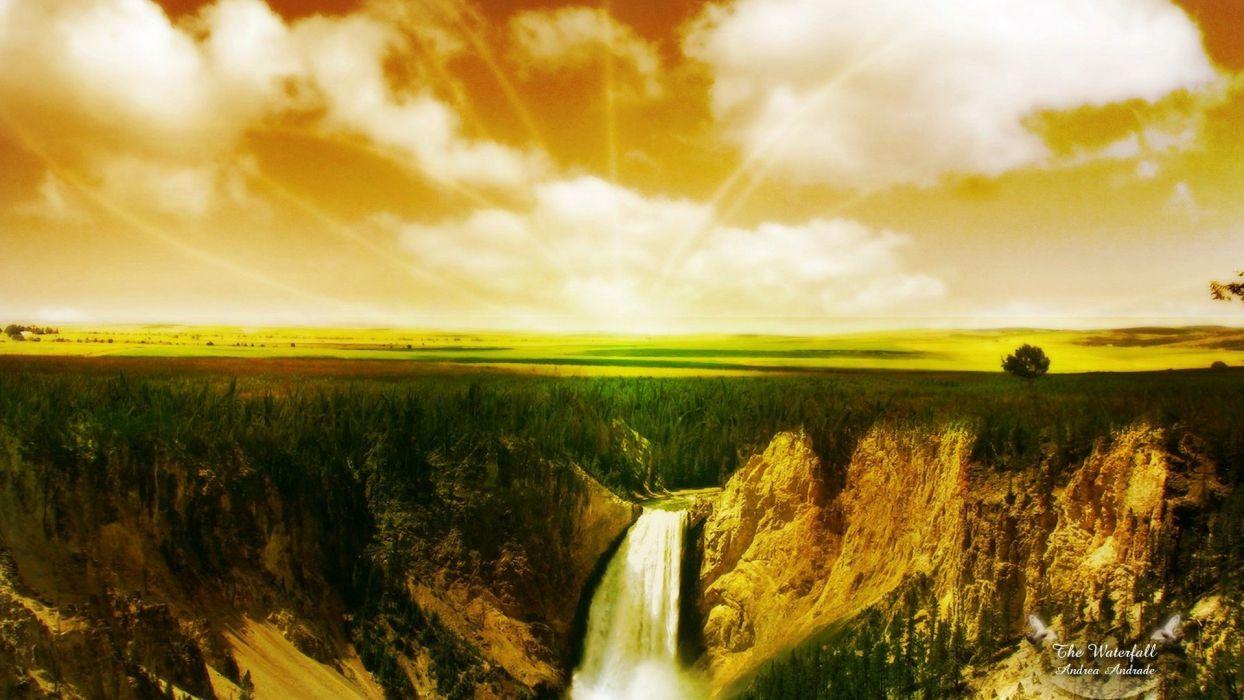 landscapes nature waterfalls land wallpaper