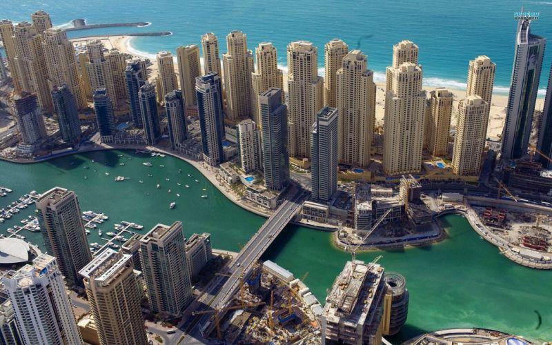 ocean cityscapes buildings Dubai boats roads beaches wallpaper