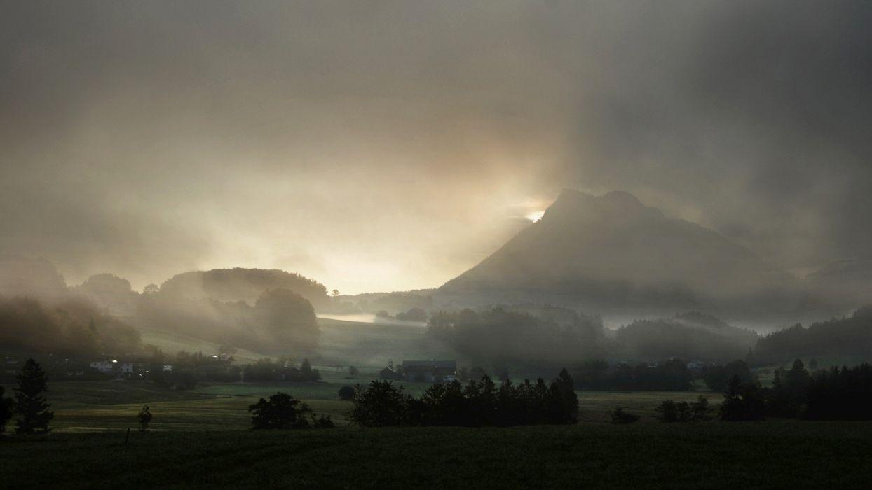 sunrise mountains landscapes fields fog terrain wallpaper