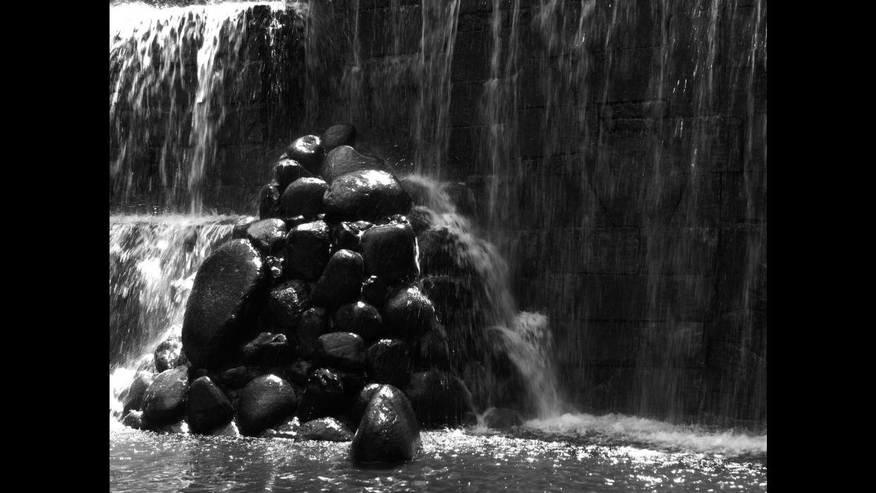 rocks waterfalls wallpaper