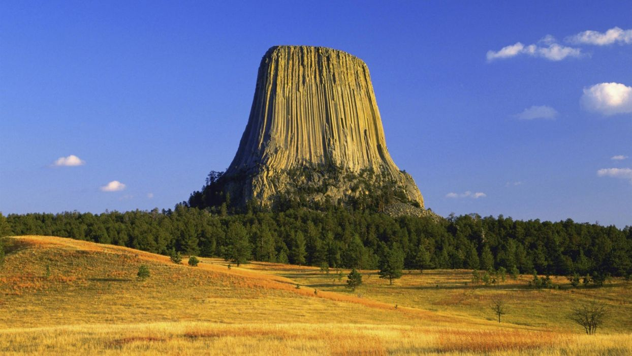 trees autumn tower Wyoming plateau Devils Tower wallpaper