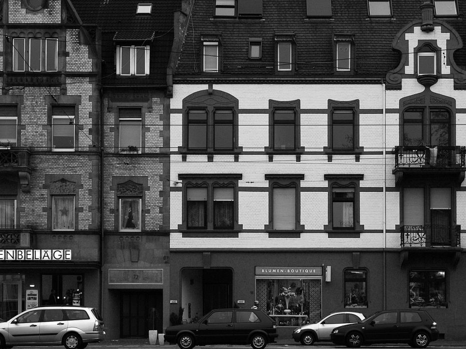 buildings monochrome window panes Karlsruhe cities wallpaper